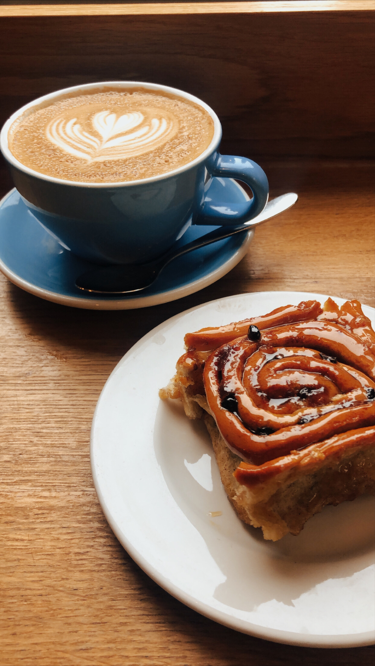 Chelsea Bun and Latte from Fitzbillies!