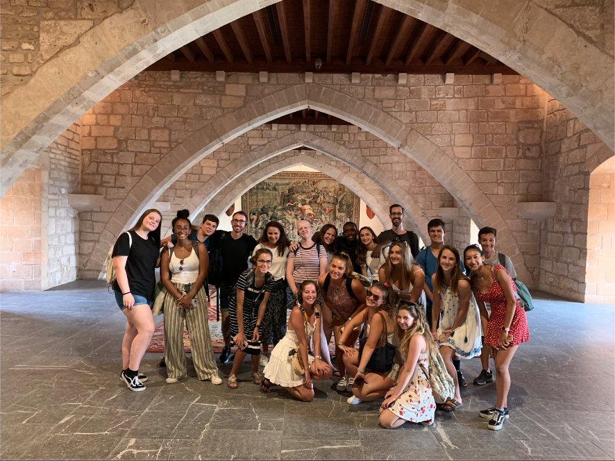 Students visiting the King's quarters of the Almudaina Palace
