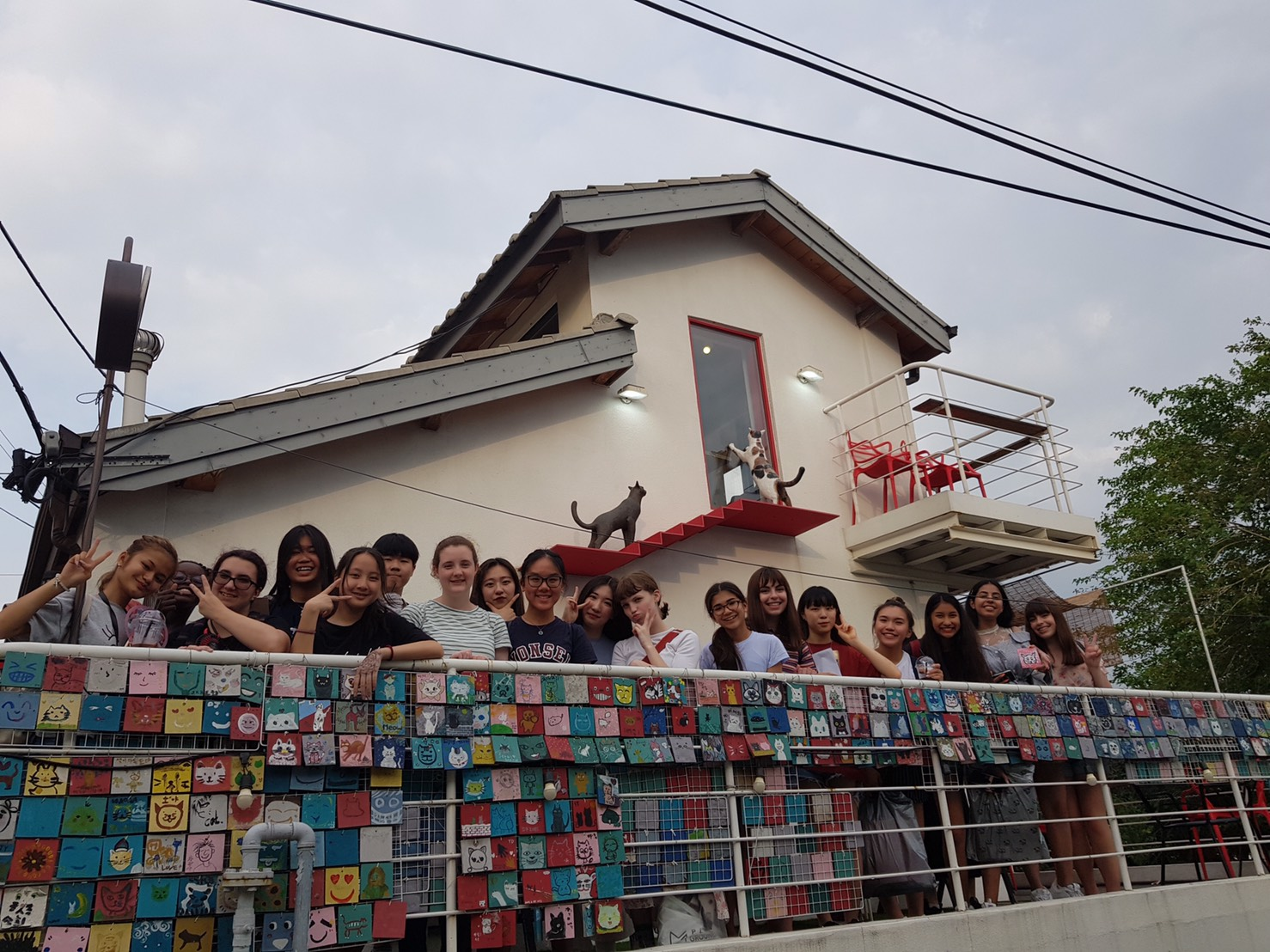 Group picture at a cafe atop Iwha Mural Village.